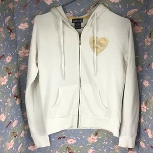 Wet Seal White Gold hoodie Love heart sequin Sz s